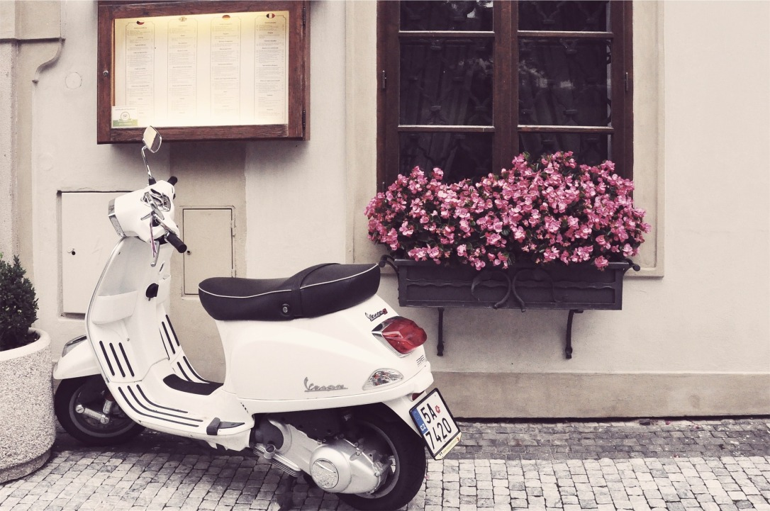 scooter with flowers